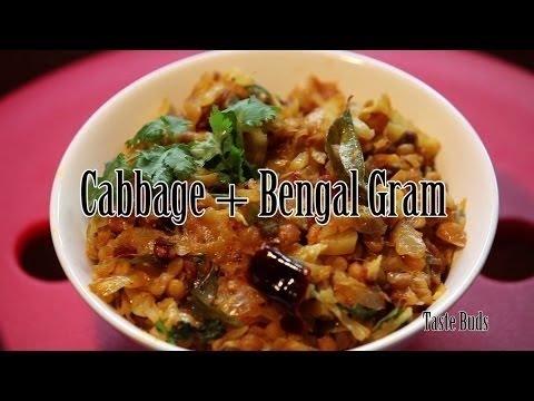 Cabbage and Bengal gram fry - Cabbage and senagapappu fry