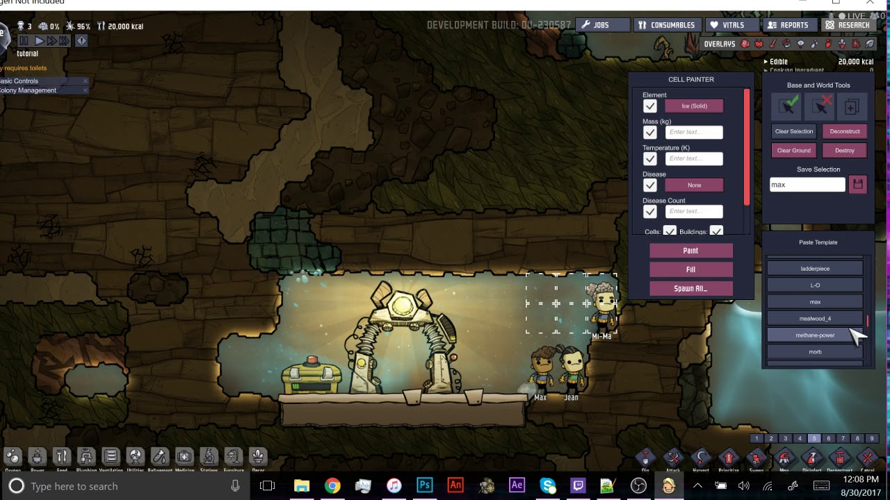 Oxygen Not Included Debug Tutorial: Copypaste Bases and Creatures and More!