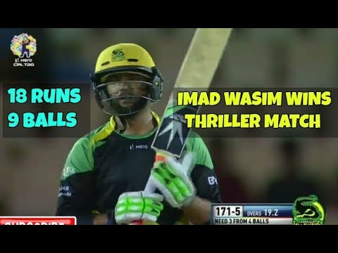 Imad Wasim Wins Thriller Match For His Team - 18 Off 9 Balls vs ST Lucia Stars - STS vs JT CPl 2017