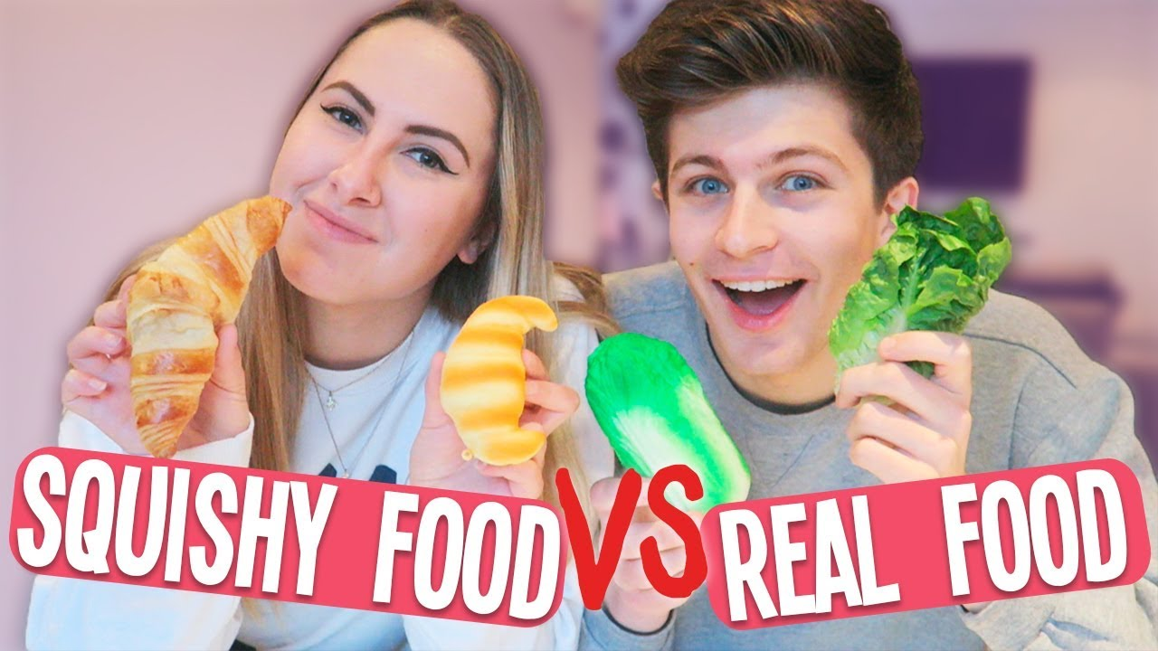 Squishy Toys Vs Real Food : SQUISHY FOOD vs. REAL FOOD ?? - YouTube