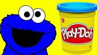 Repeat youtube video Play doh Cookie Monster Sesame Street Stop motion animation Monstruo de las galletas
