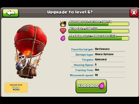 CLASH OF CLANS Balloon Upgrade to level 6 and Queen Archer Upgrade to level 7