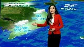 VTC14 | Thời tiết cuối ngày (23h) 25/11/2017 | Ngày mai Chủ nhật, không khí lạnh sẽ suy yếu dần