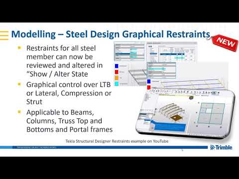 Restraints in Tekla Structural Designer 2019i - YouTube