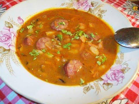 Польский фасолевый суп  с копченостями.