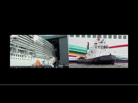 Cruise Liners Genting Dream and Norwegian Joy Coming out of Meyer Werft shipyard