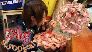 大食い→味噌王仲間で花びら塩にぼしらーめん7.3kg食べた。Eating 16lb giant ramen