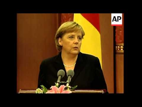 WRAP Chancellor Merkel and PM Wen, tour park, welcome ceremony
