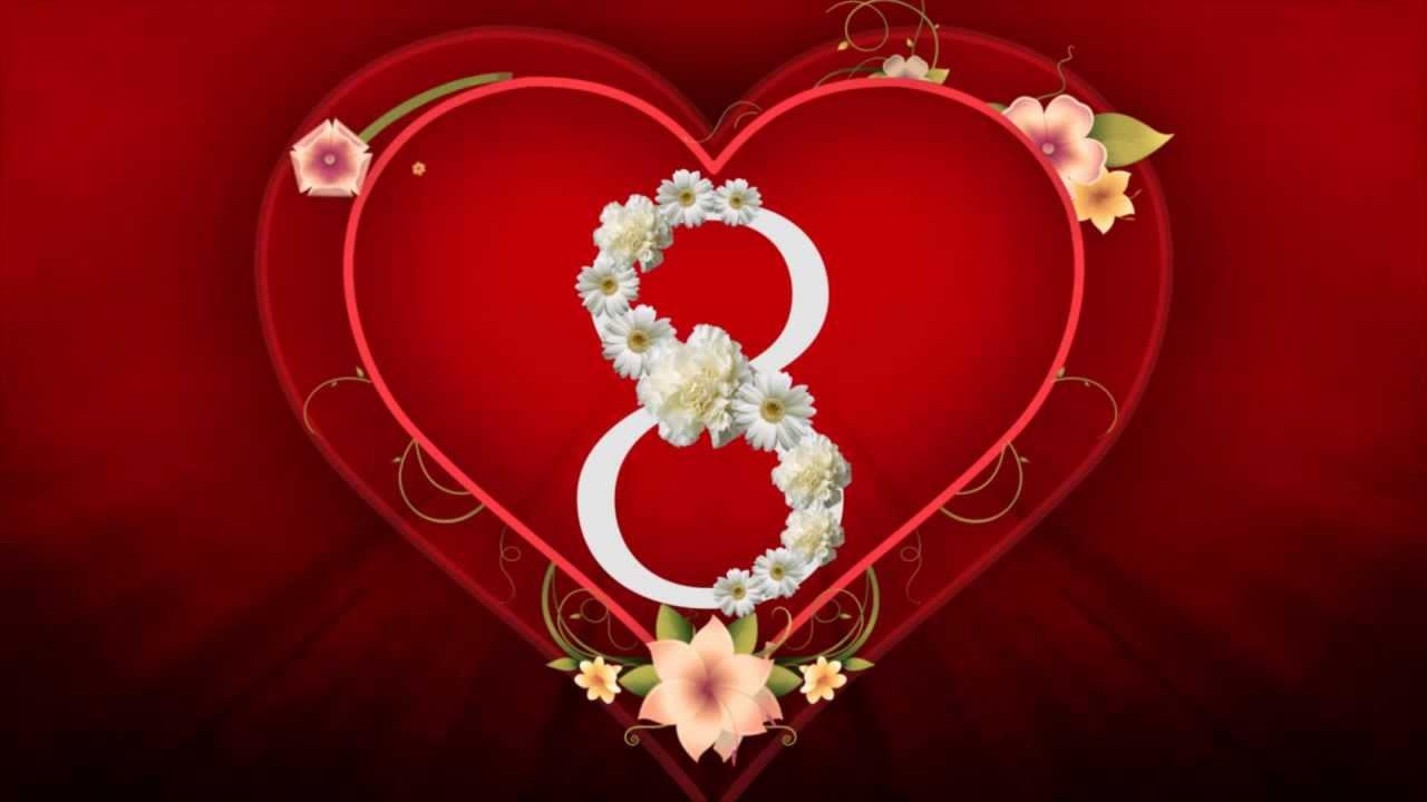 Открытка сердечко на 8 марта