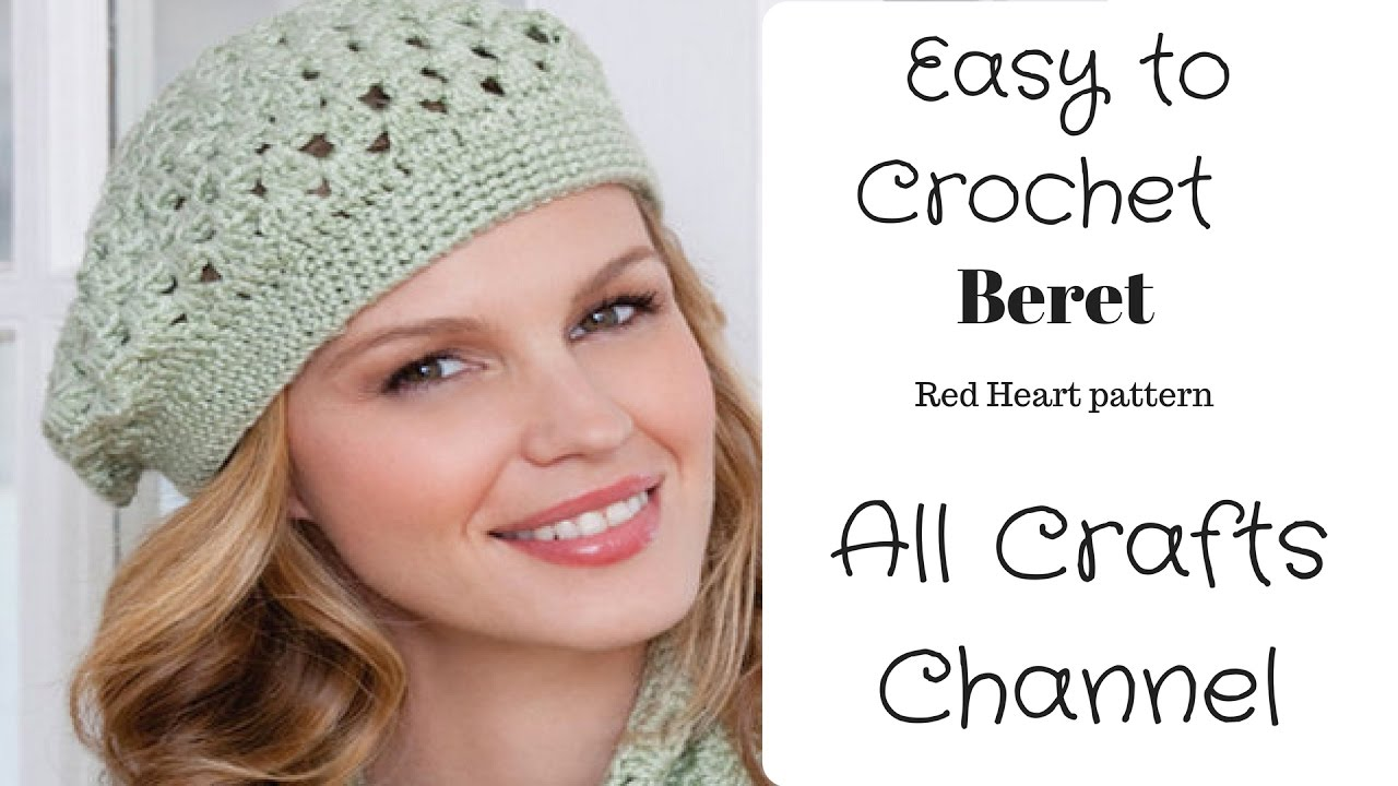 How to Crochet easy beret - (Redheart pattern LW2741 ) - Yolanda ...