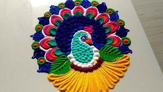 Colorful peacock rangoli for New year 2019 & Christmas
