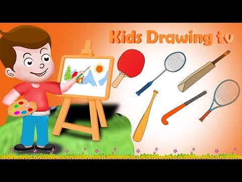 Drawing Sport bats sticks and racket And Colouring For Kids | Kids Drawing TV