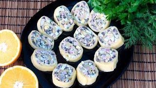 Обалденный рулет из сыра ветчины и шампиньонов Простой рецепт для Новогоднего меню