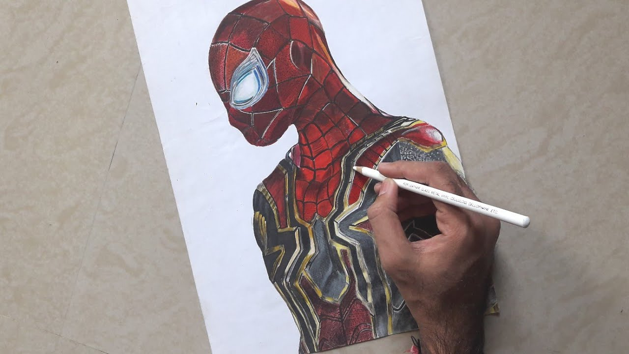 Iron spiderman 1 spiderman homecoming spiderman far from homevora art vora niranjan drawing