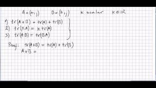 Linear Algebra 69, Matrix Trace