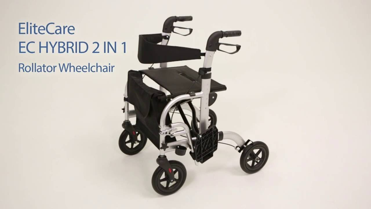 EliteCare Hybrid 2 in 1 Rollator Wheelchair - Fenetic Wellbeing ...