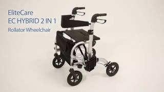 EliteCare Hybrid 2 in 1 Rollator Wheelchair - Fenetic Wellbeing