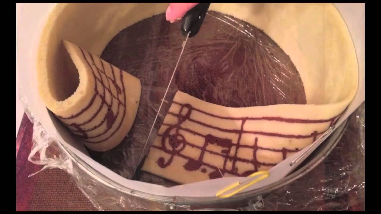 Joconde Cake With Chocolate Design : Musical Joconde Imprime Chocolate Mousse Cake - YouTube