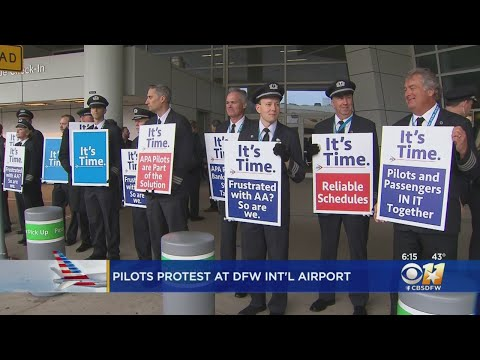 Hundreds Of American Airlines Pilots Picket Outside DFW Airport Over Contract Negotiations