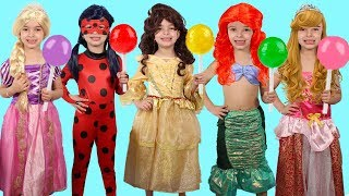 APRENDENDO CORES COM AS PRINCESAS ! LEARN COLORS WITH PRINCESS AND LOLLIPOPS JOHNY JOHNY YES PAPA !