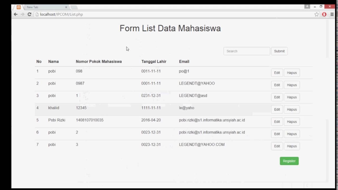 Demo add,delete,list, search simple form HTML - YouTube