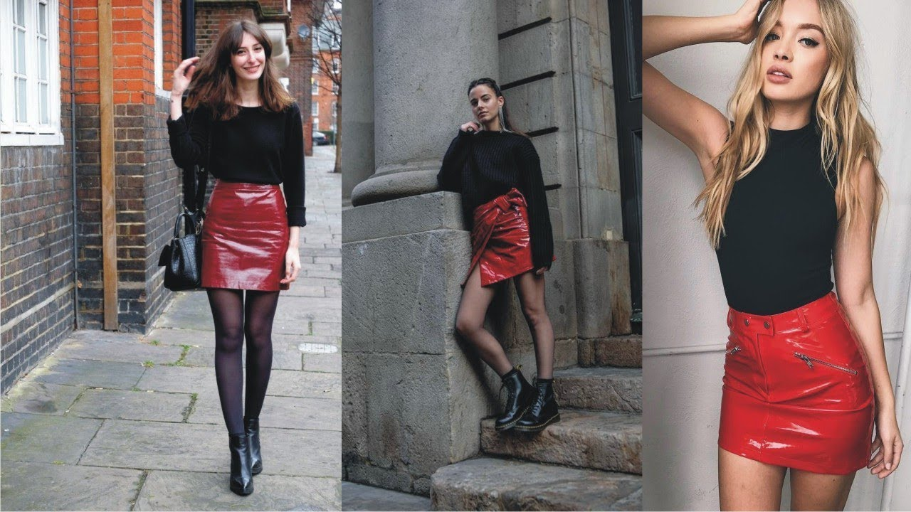 Amazing Red Leather Skirt Outfit To Light Your Day - YouTube