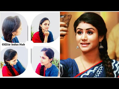 No teasing Side Puff with  tricks for Frizzy Hair | Raja Rani Semba Hairstyle | Side Braid thumbnail