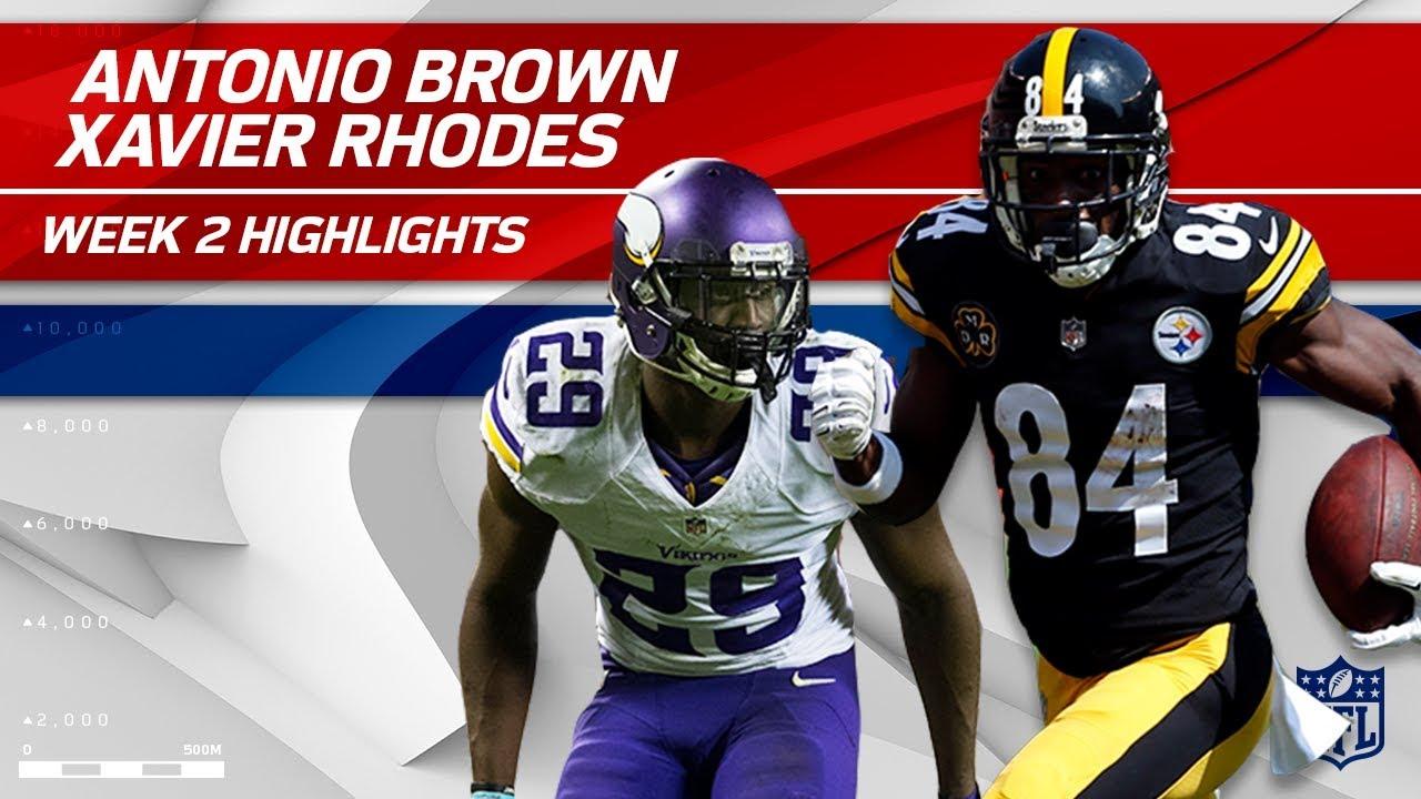 Antonio Brown Battles Xavier Rhodes Vikings vs Steelers