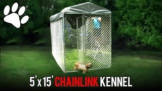 Lucky Dog™ 5' X 15' Chainlink Dog Kennel Kit In A Box Installation (with Roof Cover Installation)