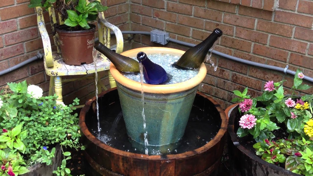 Whiskey Barrel Wine Bottle Fountain