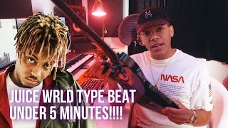 MAKING A JUICE WRLD TYPE BEAT FROM SCRATCH IN 5 MINUTES!!! (Chuki Beats Making A Beat)