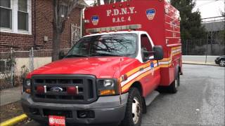 FDNY RAC 4 ARRIVING AT & LEAVING QUARTERS OF FDNY SQUAD 288 & FDNY HAZMAT 1 IN QUEENS, NYC.