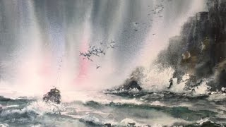 Шторм на море. Акварель. Stormy Sea. watercolor(мои другие видео https://www.youtube.com/channel/UCfbwog2g8OO9_DuAkevY7gg - мой канал https://www.youtube.com/watch?v=aYDF8YYABRU – стволы ..., 2016-04-05T15:55:51.000Z)