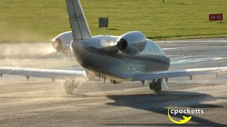 light golden cessna citation cj4 hb vpa beautiful wet take off gloucestershire airport