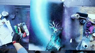 Turquoise Tree - SPRAY PAINT ART - by Skech