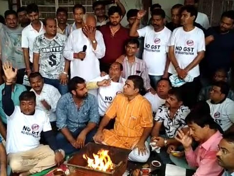 Surat: Textile traders perform special puja demanding removal of 5% GST