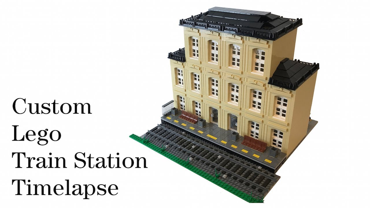 Lego Modular-Compatible City Train Station MOC Time Lapse Speed Build