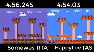 Super Mario Bros. TAS VS. RTA (4:56.245 by somewes, 4:54.03 by HappyLee.)