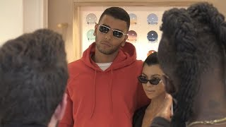 EXCLUSIVE :  Kourtney Kardashian and Younes Bendjami go to ilook glasses store in Paris