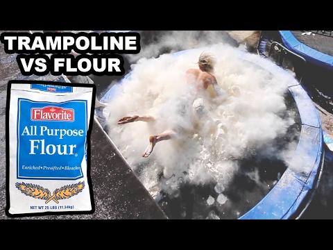 TRAMPOLINE VS FLOUR!!!