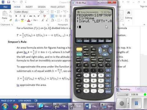 AP Calc BC: Simpson's Rule/Trapezoid Rule Calculator Program TI-84