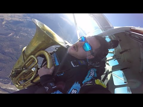 Man Plays Tuba While Skydiving