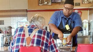 Woman Takes Photo Of Waitress Without Her Knowing Reveals What She Did To Elderly Man's Food