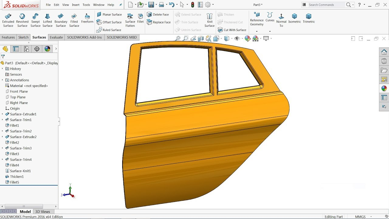 Solidworks Surface tutorial | Car door in Solidworks