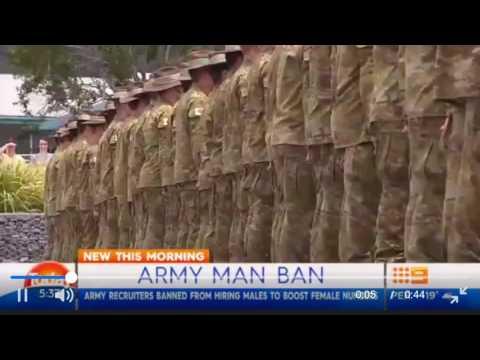 Australian Army ban male recruits ADF