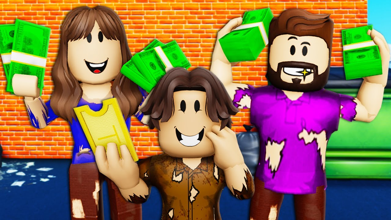 Homeless Family Wins The Lottery! A Roblox Movie