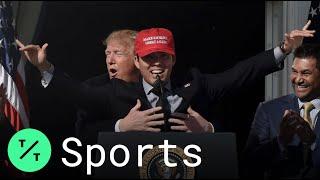 Trump Gives Big Hug to Nats Catcher Kurt Suzuki at White House Rally