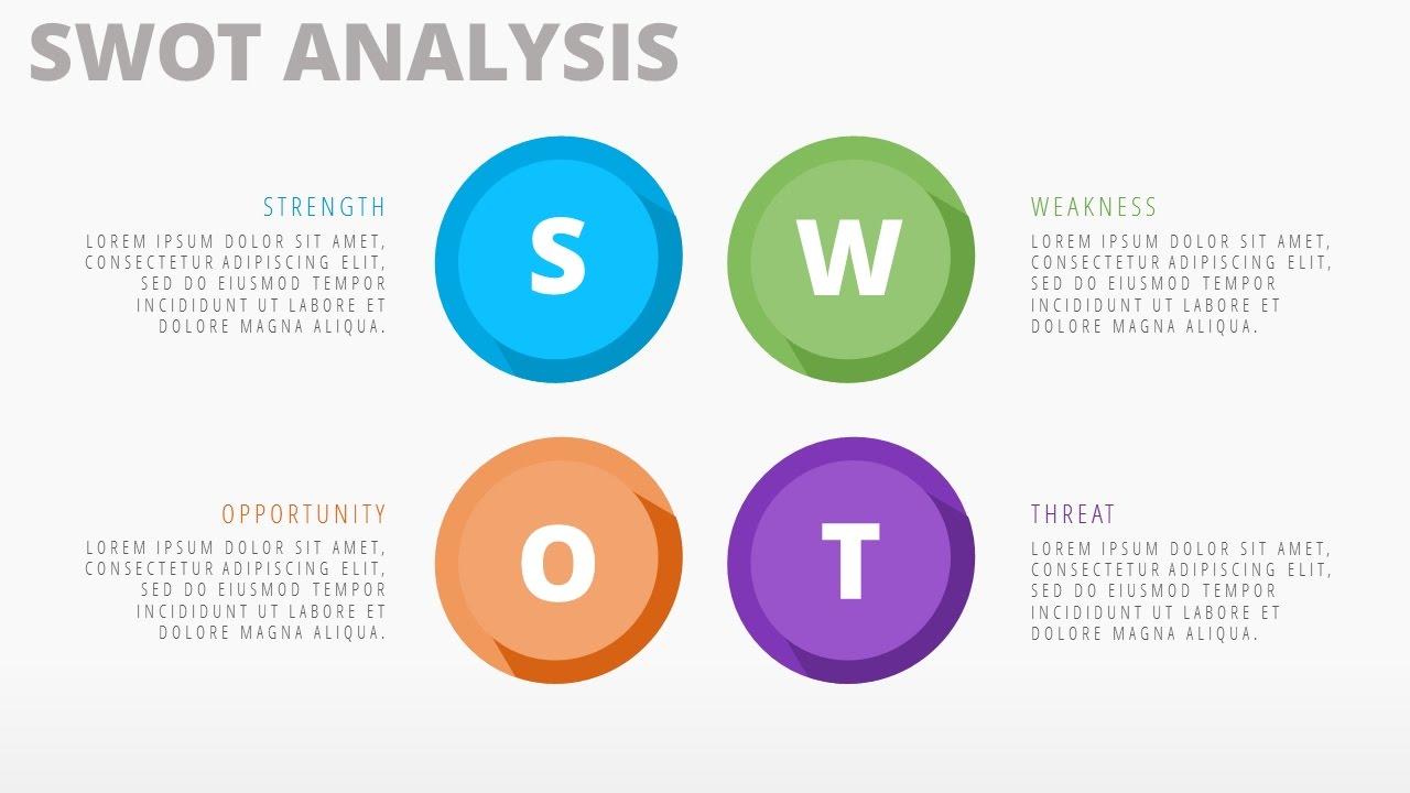 swot analysis slide design template in microsoft powerpoint 2016