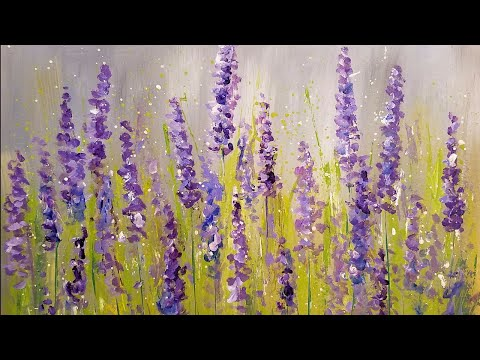 Easy Lavender Painting with Cotton Swabs | Acrylic Tutorial Step by Step for Beginners