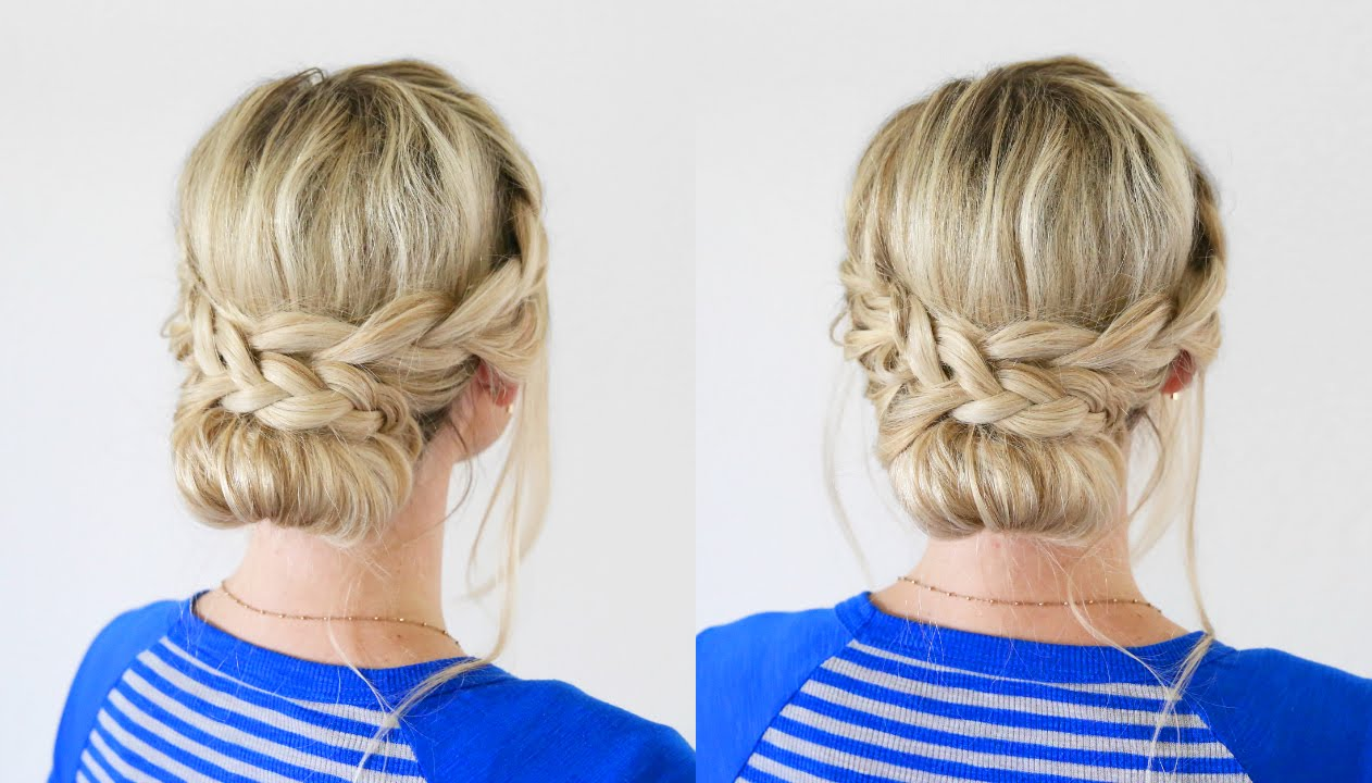 French Lace Braid Updo | Back to School Hairstyles - YouTube